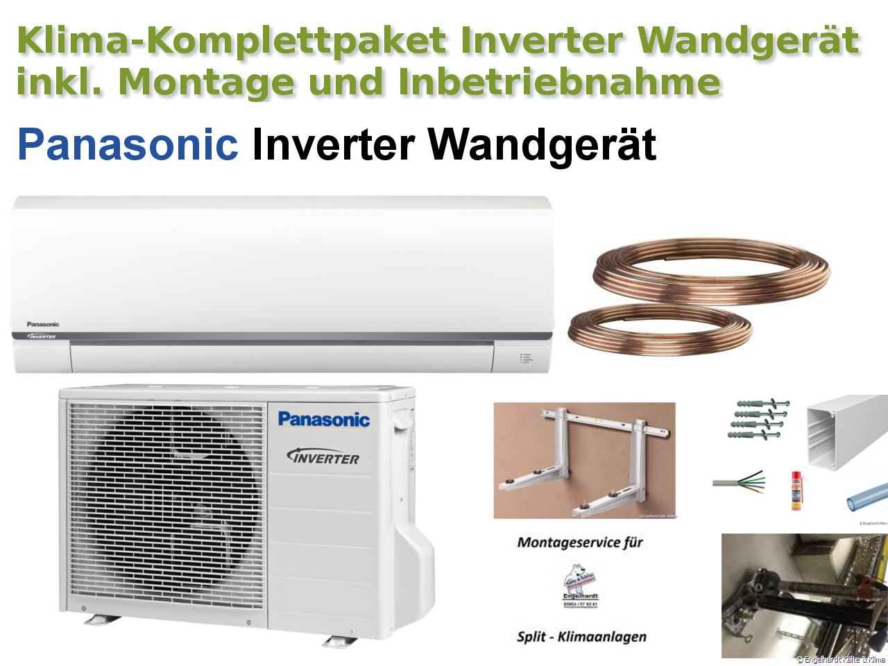 panasonic inverter wandklimaanlage mit montagematerial. Black Bedroom Furniture Sets. Home Design Ideas